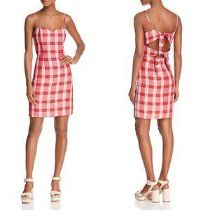 Bardot red white plaid tie back linen mini dress